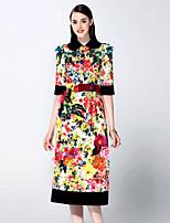 Damen A-Linie / Hülle Kleid-Ausgehen Anspruchsvoll Stickerei Hemdkragen Midi ½ Länge Ärmel Rot Polyester Sommer