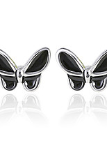 2016 Korean Women 925 Silver Sterling Silver Jewelry Acrylic Butterfly Earrings Stud Earrings 1Pair