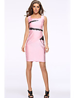 Women's Sexy Patchwork Plus Size / Sheath Dress,Square Neck Above Knee Polyester