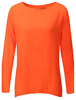 Women's Solid Black / Orange Blouse,Round Neck Long Sleeve