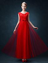 Floor-length Lace / Tulle Bridesmaid Dress Sheath / Column Square with Sash / Ribbon
