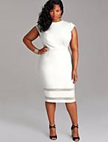 Women's Simple Patchwork Mesh Casual Slim Large Size Plus Size / Sheath Dress,Round Neck Knee-length