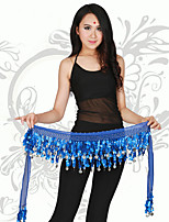 Belly Dance Hip Scarves Women's Performance Chiffon Gold Coins / Paillettes 1 PieceBlack