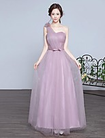 Formal Evening Dress A-line One Shoulder Floor-length Lace / Tulle with Flower(s) / Cascading Ruffles