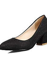 Women's Spring / Summer / Fall Heels / Comfort / Round Toe PU Outdoor / Office & Career / Dress Chunky Heel Sequin Black / Silver / Gold