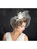 Women's Feather / Net Headpiece-Special Occasion Fascinators 1 Piece Clear Irregular 15