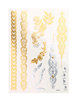 1pc Flash Metallic Tattoo Silver Gold Waterproof Makeup Body Paint 3D Temporary Tattoo Sticker YH-077