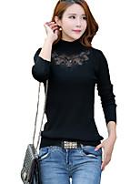 Damen Standard Pullover-Lässig/Alltäglich Street Schick Patchwork Rot / Schwarz / Grau Rollkragen Langarm Baumwolle / AcrylFrühling /