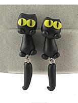 Fashion Manual Polymer Clay Animals Big Eye Stereoscopic Cat Earrings