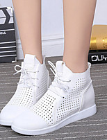Women's Shoes Cowhide Spring Round Toe Boots Casual Wedge Heel Lace-up / Polka Dot Black / White