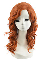High Quality Natural Long Curly Brown Color Synthetic Wig For White Women