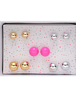 Alloy Circle Ball Shape Pierced Stud Earrings Jewelry(5Pair/Set)casual