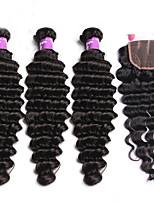 Brazilian Virgin Hair With Closure 4 Pcs/Lot Curly Human Hair Weave 3Bundles With Closure Brazilian Deep Wave