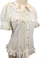 Sweet Lolita Short Sleeve White / Black Lolita Dress Terylene