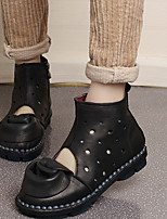 Boots Spring / Fall Crib Shoes Leather Casual Low Heel Hollow-out / Flower Black / Brown