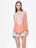 Herz Soul® Damen Rundhalsausschnitt Ärmellos T-Shirt Orange-11709