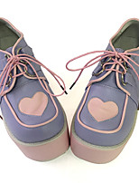 Punk Lolita Leather / Corduroy 10 Wedge Purple Lolita Shoes