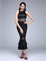 TS Couture® Formal Evening Dress Trumpet / Mermaid Jewel Tea-length Lace / Stretch Satin with Lace / Ruffles / Tiers