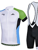 Men's Summer Professional Cycling White Shirt Bicycle Breathable Quick Dry Jersey + Bike 3D Cushion Pad Bib Shorts Suit