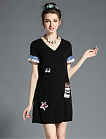 Plus Size Women Elegant Fashion Embroidered Sequins V Neck Solid A-Line Dress