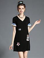 Plus Size Women Elegant Fashion Embroidered Sequins V Neck Solid A-Line Dress