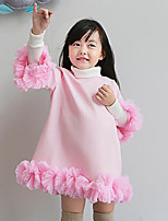 Girl's Casual/Daily Solid Dress,Cotton Winter / Spring / Fall Pink