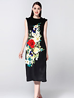 Boutique S Women's Going out Sophisticated Sheath Dress,Embroidered Round Neck Midi Sleeveless Black Cotton