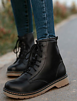 Boots Spring / Fall Motorcycle Boots PU Casual Chunky Heel Lace-up Black / White / Peach