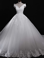 Ball Gown Wedding Dress Chapel Train Off-the-shoulder Tulle with Appliques / Lace