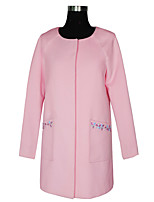 Women's Casual/Daily Simple Coat,Solid / Embroidered Round Neck Long Sleeve Fall / Winter Pink Wool / Faux Fur Medium