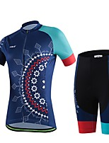 Women's Summer Professional Cycling Print Shirt Bicycle Breathable Quick Dry Jersey + Bike 3D Cushion Pad Shorts Suit