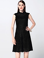 Boutique S Women's Going out Sophisticated Sheath Dress,Jacquard Crew Neck Above Knee Sleeveless Black Cotton