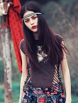 Aporia.As® Femme Col Arrondi Manche Courtes Shirt et Chemisier Marron-Y0115