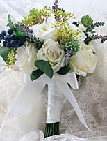 Bouquets de Noiva Forma-Livre Rosas / Peônias / Lavanda Buquês Casamento Multi-Côr Cetim 9.06