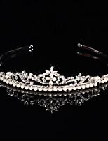 여성 라인석 / 크리스탈 / 브라스 / 모조 진주 투구-웨딩 / 특별한날 왕관 1개 취소 / 화이트 둥근 / 불규칙한 19cm