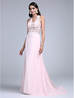 TS Couture® Formal Evening Dress A-line Halter Court Train Chiffon with Appliques