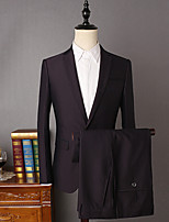 Suits Slim Fit Notch Single Breasted Two-buttons Viscose Solid 2 Pieces Black Straight Flapped None Black None