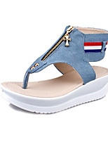 Women's Sandals Summer Sandals Canvas Casual Wedge Heel Zipper Blue Others