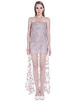 Women's Going out / Party/Cocktail / Club Cute Sheath Dress,Floral / Patchwork Strapless Maxi Sleeveless Beige