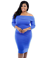 Women's Simple Solid Plus Size Large Size Slim / Bodycon Off-The-Shoulder Dress,Boat Neck Knee-length