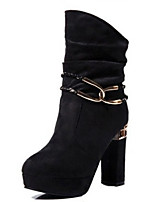 Women's Boots Winter Fashion Boots PU Casual Chunky Heel Others Black / Blue Others