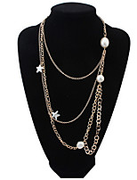 Simple Multi-Chain Necklace Pearl Starfish