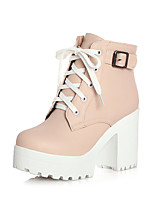 Women's Shoes PU Fall / Winter Bootie /Round Toe Boots Office & Career /Casual Chunky Heel Buckle /Black /Pink /White
