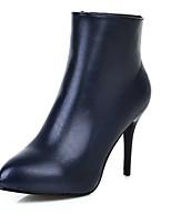 Mujer-Tacón Stiletto-Tacones / Botas a la Moda-Botas-Exterior / Oficina y Trabajo / Casual-Semicuero-Negro / Azul / Rojo