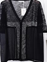 Cardigan Femme Sortie simple,Couleur Pleine Bleu / Rose / Blanc / Noir Manches Longues Coton Eté Fin