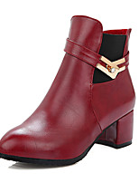 Women's Shoes Fashion Boots / Round Toe Boots Office & Career / Dress / Casual Chunky Heel Buckle / Gore /