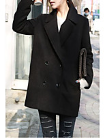 Women's Casual/Daily Simple Coat,Solid Notch Lapel Long Sleeve Fall Blue / White / Black Wool Medium
