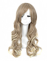 High Quality Natural Long Curly Blonde Color Synthetic Wig For White Women