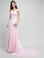 Formal Evening Dress A-line One Shoulder Court Train Chiffon with Beading