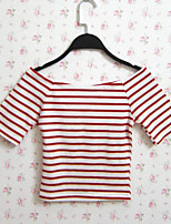 Women's Striped Red / Black T-shirt,Sexy/Street chic Fashion Slim Thin Boat Neck Short Sleeve Cotton/Polyester
